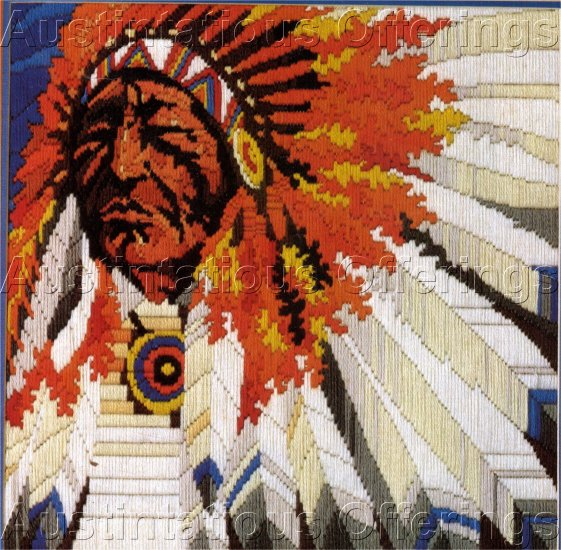 RARE NATIVE AMERICAN CHIEF LONGSTITCH NEEDLEPOINT KIT NOBLE LEADER