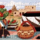 RARE NATIVE AMERICAN POTTERY NEEDLEPOINT KIT SOUTHWEST PUEBLOS CACTUS