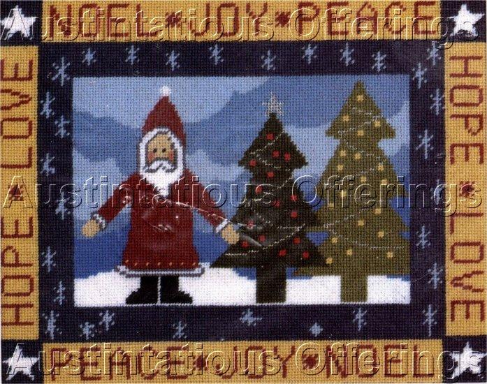 RARE PRIMITIVE CHRISTMAS NEEDLEPOINT KIT FOLK ART SANTA CLAUS