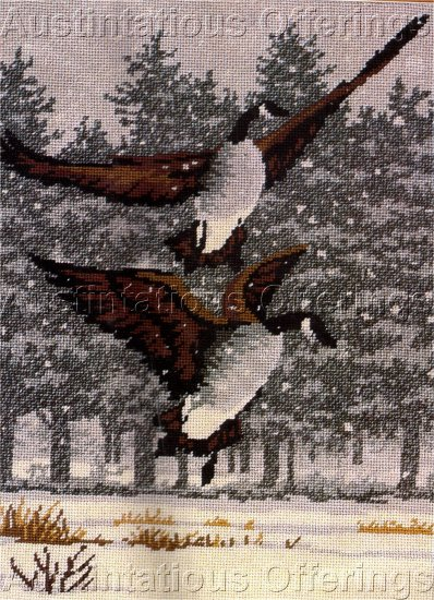 RARE REINDARY WINTER WATERFOWL NEEDLEPOINT KIT CANADA GEESE IN FLIGHT