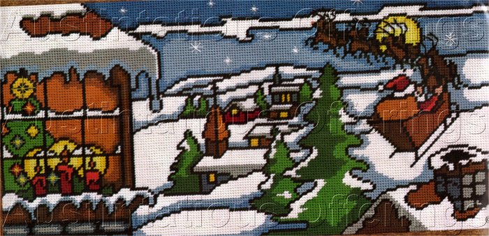 RARE SANTA'S MOONLIGHT RIDE HOLIDAY NEEDLEPOINT KIT STAINED GLASS STYLE
