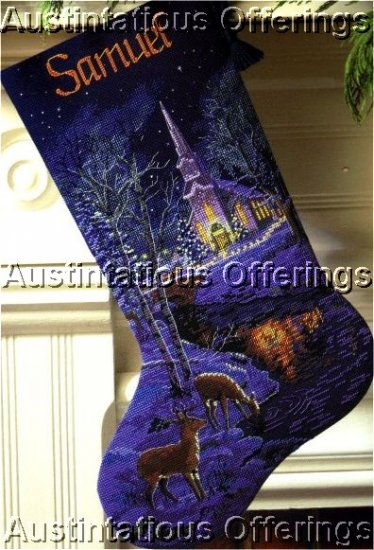 HARD TO FIND ELEGANT GOLD COLLECTION NAVY CHRISTMAS STOCKING CROSS STITCH KIT CHURCH