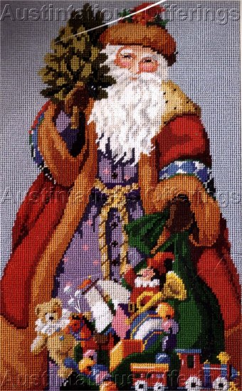 RARE ROSSI WOODLAND SANTA NEEDLEPOINT PILLOW / PICTURE KIT FATHER CHRISTMAS