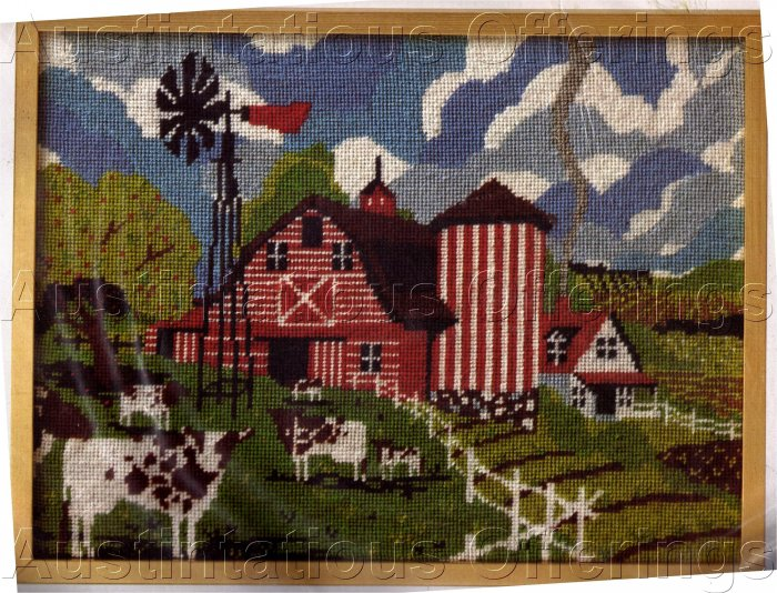RARE COUNTRY FOLK ART RED STRIPED BARN NEEDLEPOINT KIT HOLSTEIN COWS