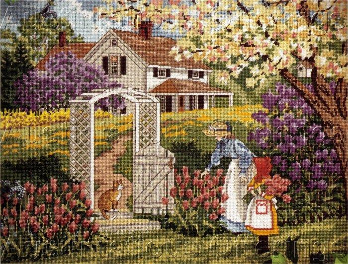 RARE SLOANE MOTHER CHILD GARDEN STROLL NEEDLEPOINT KIT SPRING FARM HOUSE