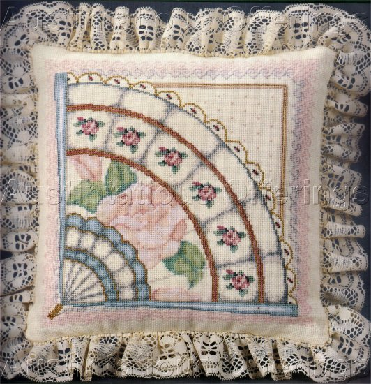 RARE WILLIAMS MILADY'S VICTORIAN FAN CROSS STITCH PILLOW KIT