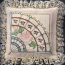 RARE BOMBARD ELEGANT VICTORIAN FAN CROSS STITCH PILLOW KIT ELSA WILLIAMS