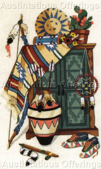 RARE SOUTHWEST STILL LIFE CREWEL EMBROIDERY KIT NATIVE AMERICAN BLANKET POTTERY ARROWS & MORE