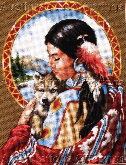 RARE NATIVE AMERICAN MAIDEN NEEDLEPOINT KIT INDIAN WOLF SPIRIT SANDY BODINE