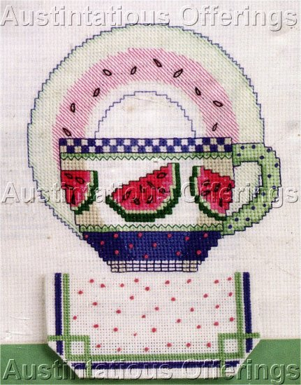 TEACUP COLLECTOR CROSS STITCH KIT WATERMELON TEA CUP AND SAUCER