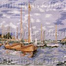 RARE SAILBOAT PAINTING ART REPRO NEEDLEPOINT KIT WATERSCAPE LAWRENCE REITER