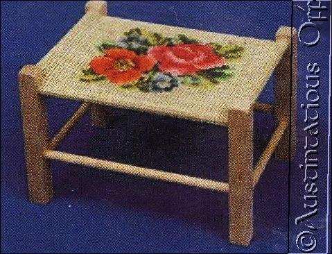 VINYL WICKER FOOTSTOOL FLORALCROSS STITCH KIT PAINTABLE