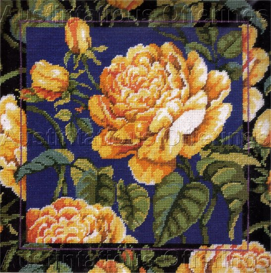 RARE BAATZ YELLOW ROSES NEEDLEPOINT PILLOW KIT BUDS AND BLOOMS FLORAL