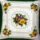 SPRING ROMANCE CREWEL EMBROIDERY PILLOW KIT ELSA WILLIAMS PANSY