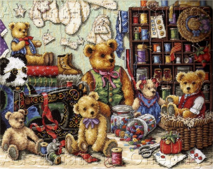 CRAFT ROOM TEDDY BEAR GOLD COLLECTION CROSS STITCH KIT TEDDIES & BUTTONS