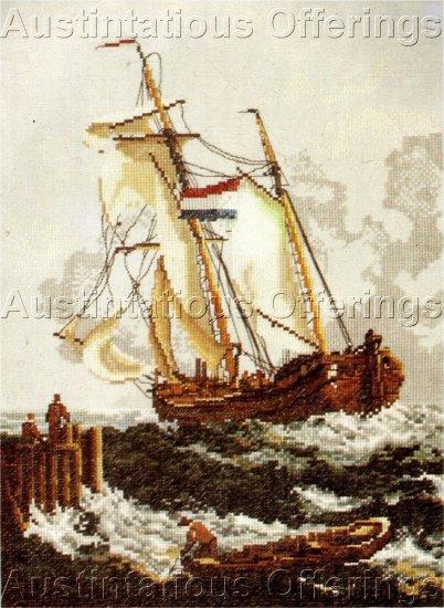 RARE SEASCAPE LINEN CROSS STITCH KIT TALL SAILING SHIP