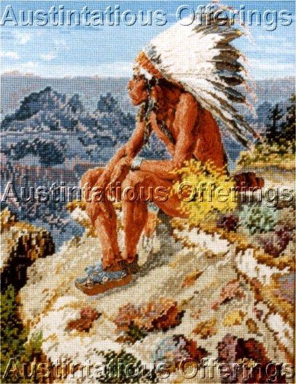 RARE EUNICE BEAM SOUTHWEST PETIT POINT AND GROS POINT NEEDLEPOINT KIT NATIVE AMERICAN WARRIOR