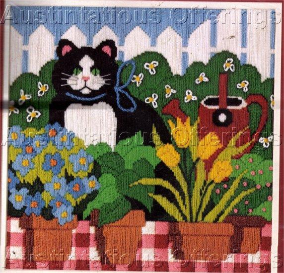 RARE CAT LONGSTITCH NEEDLEPOINT KIT SPRING GARDEN KITTY