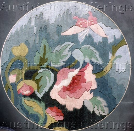 RARE ANCHOR WOOL FLORAL LONGSTITCH NEEDLEPOINT KIT PEONY BLOSSOM SEMCO
