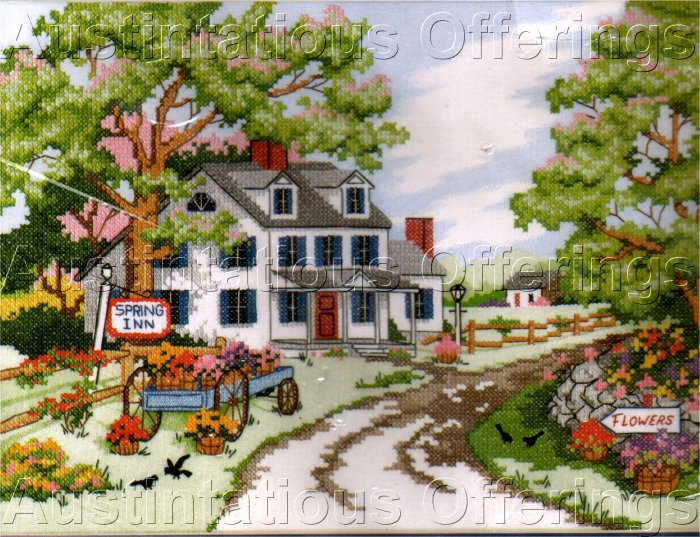 COUNTRYSIDE SPRING STAMPED CROSS STITCH KIT QUIET COUNTRY INN