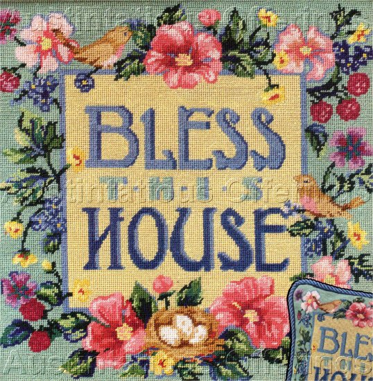 VINTAGE POST CARD STYLE NEEDLEPOINT SAMPLER PILLOW / PICTURE KIT BLESS HOME