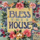 RARE SPAW VINTAGE POST CARD STYLE NEEDLEPOINT SAMPLER PILLOW / PICTURE KIT BLESS HOME