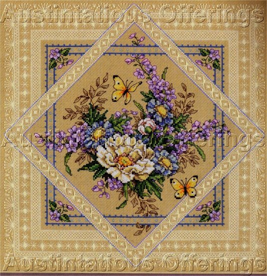 SANDY ORTON SPRING  EASTER FLORAL LACE CROSS STITCH KIT STUNNING BORDERS