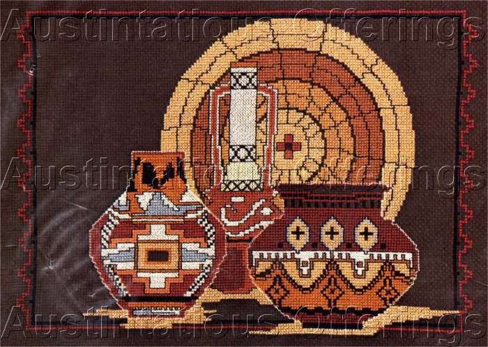 STRIKING TRADITIONAL NATIVE AMERICAN POTTERY CROSS STITCH KIT SOUTHWEST WOVEN BASKET