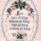 RARE CUSATIS VICTORIANA CROSS STITCH KIT LOVE ENDURES ALL THINGS