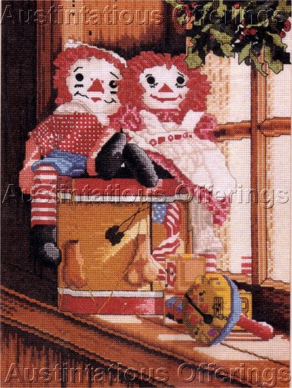 RARE STORYBOOK DOLL PAIR CROSS STITCH KIT RAGGEDY ANN & BROTHER RAGGEDY ANDY