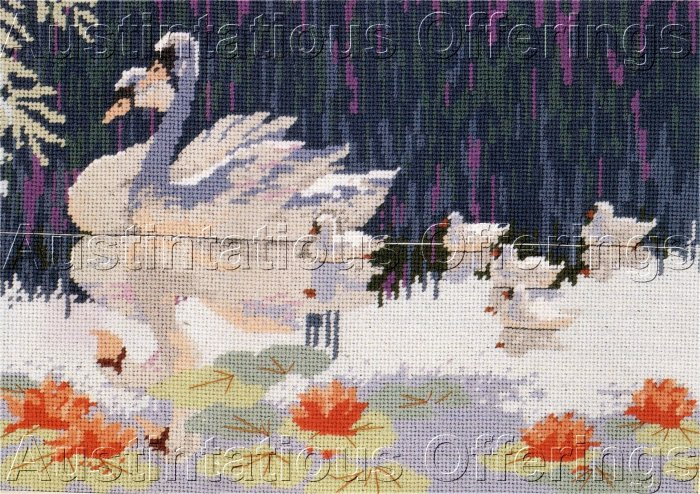 Swan Reflections Needlepoint Kit Summer Pond Swans Family