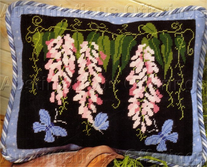 STELLA EDWARDS  NEEDLEPOINT KIT PINK WISTERIA BLUE BUTTERFLIES TWILLEYS