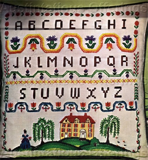 RARE SALTBOX SAMPLER CREWEL EMBROIDERY PILLOW KIT COLONIAL INTEREST
