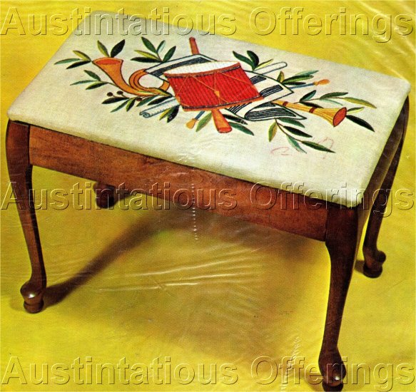 RARE WILSON MUSIC BENCH COVER CREWEL EMBROIDERY KIT DRUM, FRENCH HORN