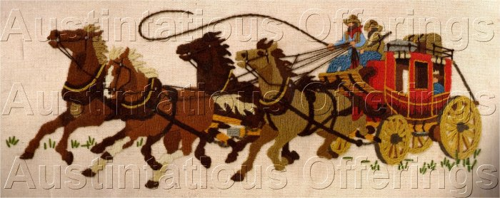 RARE COWBOY KITSCH OLD WEST CREWEL EMBROIDERY KIT JENNINGS STAGECOACH