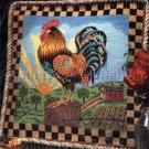 RARE SUNRISE COCKEREL NEEDLEPOINT PILLOW KIT FOLK ART FARM MORNING ROOSTER