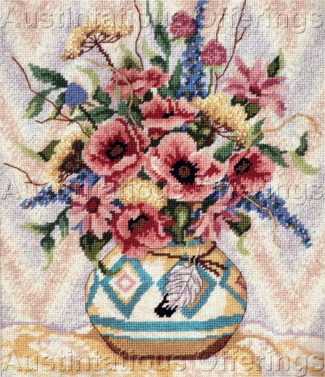 RARE SOUTHWEST FLORAL BOUQUET NEEDLEPOINT KIT DESERT POTTERY & BLOOMS