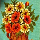 RARE DAISY & POPPY  FLORAL BOUQUET WOOL  NEEDLEPOINT KIT COPPER VASE & FLOWERS