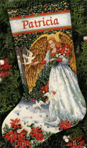RARE BYWATERS WINTER SERENITY NEEDLEPOINT STOCKING KIT POINSETTIA ANGEL