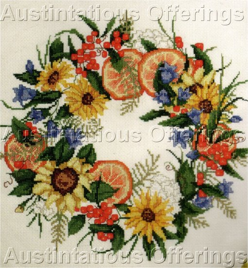 RARE SUMMER FRUIT AND FLORAL FERN  WREATH CROSS CROSS STITCH