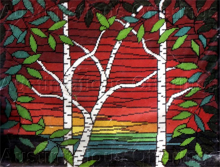 RARE LECLAIR STAINED GLASS NEEDLEPOINT KIT BIRCHES GARDEN SUNSET ELSA WILLIAMS