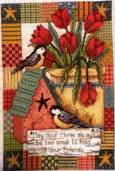 AMERICANA PATCHWORK SAMPLER CROSS STITCH KIT DIANE ARTHURS CHICKADEES & FLORAL
