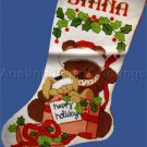 RARE JOAN ELLIOTT TEDDY BEAR CREWEL EMBROIDERY STOCKING KIT SANTABEAR WISHES