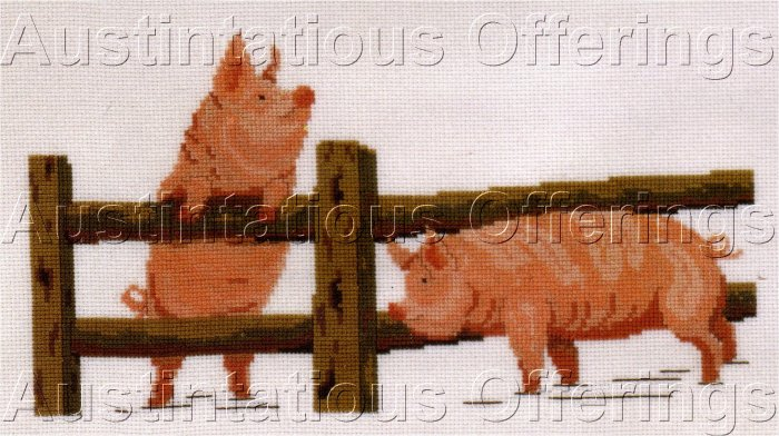 HARD TO FIND ELIZABETH STUART DESIGNS PIG CROSS STITCH KIT FARM ANIMALS PIGS
