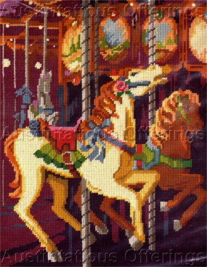 RARE EILEEN VIOLET CAROUSEL HORSE MERRY GO ROUND NEEDLEPOINT KIT