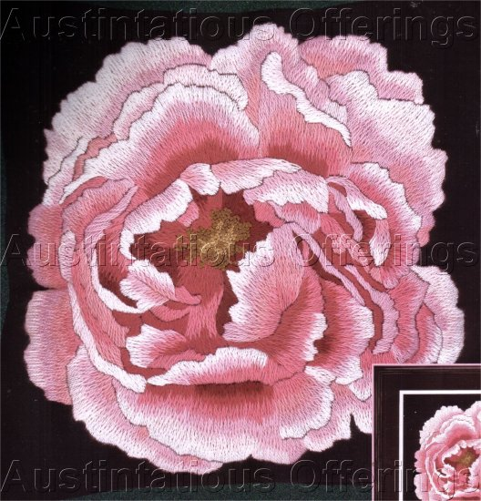 DRAMATIC JOY CAMPBELL FLORAL CREWEL EMBROIDERY KIT PINK PEONY PILLOW