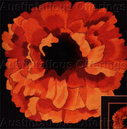DRAMATIC JOY CAMPBELL FLORAL CREWEL EMBROIDERY KIT RED POPPY PILLOW