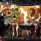 RARE ROSSI  NEEDLEPOINT PILLOW KIT MILK COW FLOSSIE PILLOW KIT