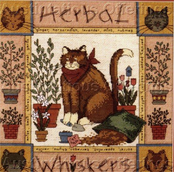 FUN FOLK ART GARDEN CAT CROSS STITCH KIT TERESA KOGUT CAT NIP