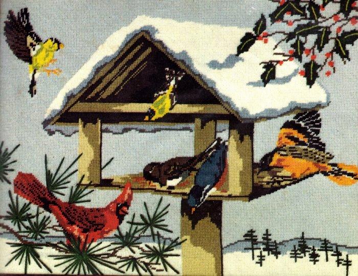 RARE SNOWY WINTER BIRD FEEDER NEEDLEPOINT KIT CARDINAL ORIOLE